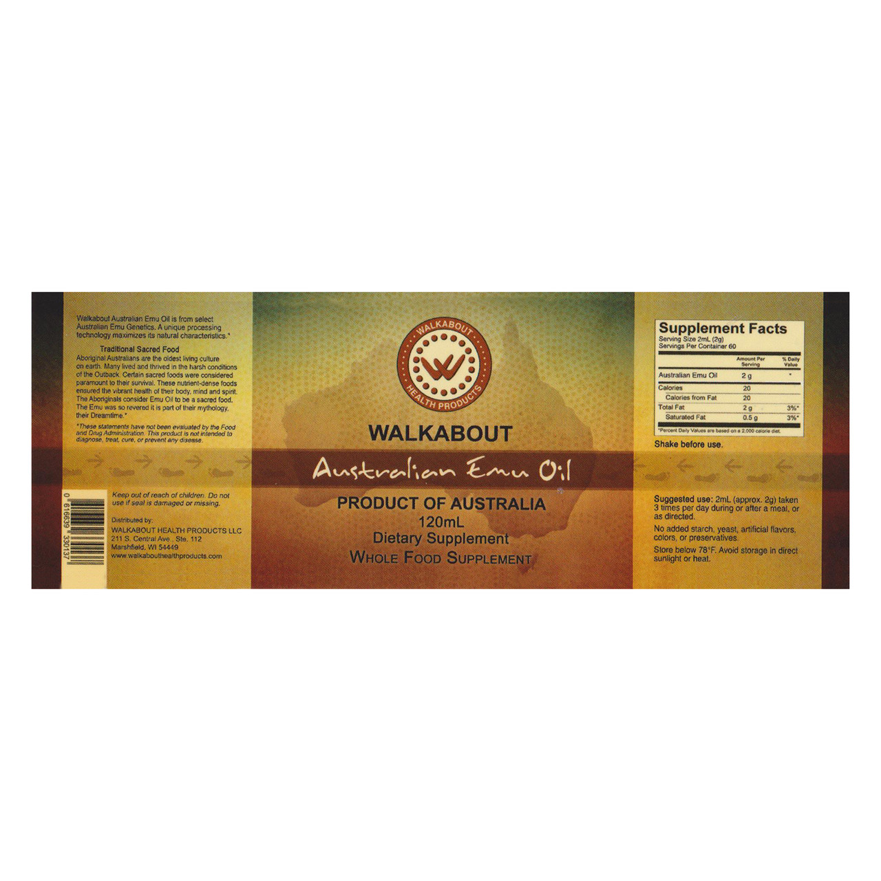 View of the full label including supplement facts for a bottle of Walkabout Australian Emu Oil Liquid.