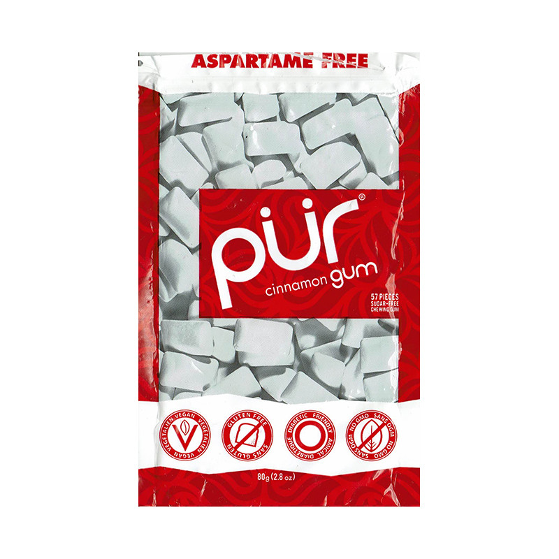 Front view of a package of Pur Gum, Cinnamon flavor.