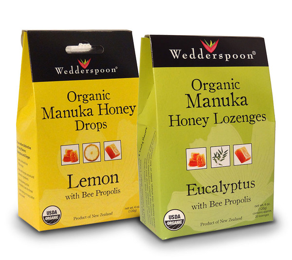 View of the front of the boxes of both flavors, lemon and eucalyptus, of Wedderspoon Manuka Honey Lozenges Drops with Beeee Propolis.