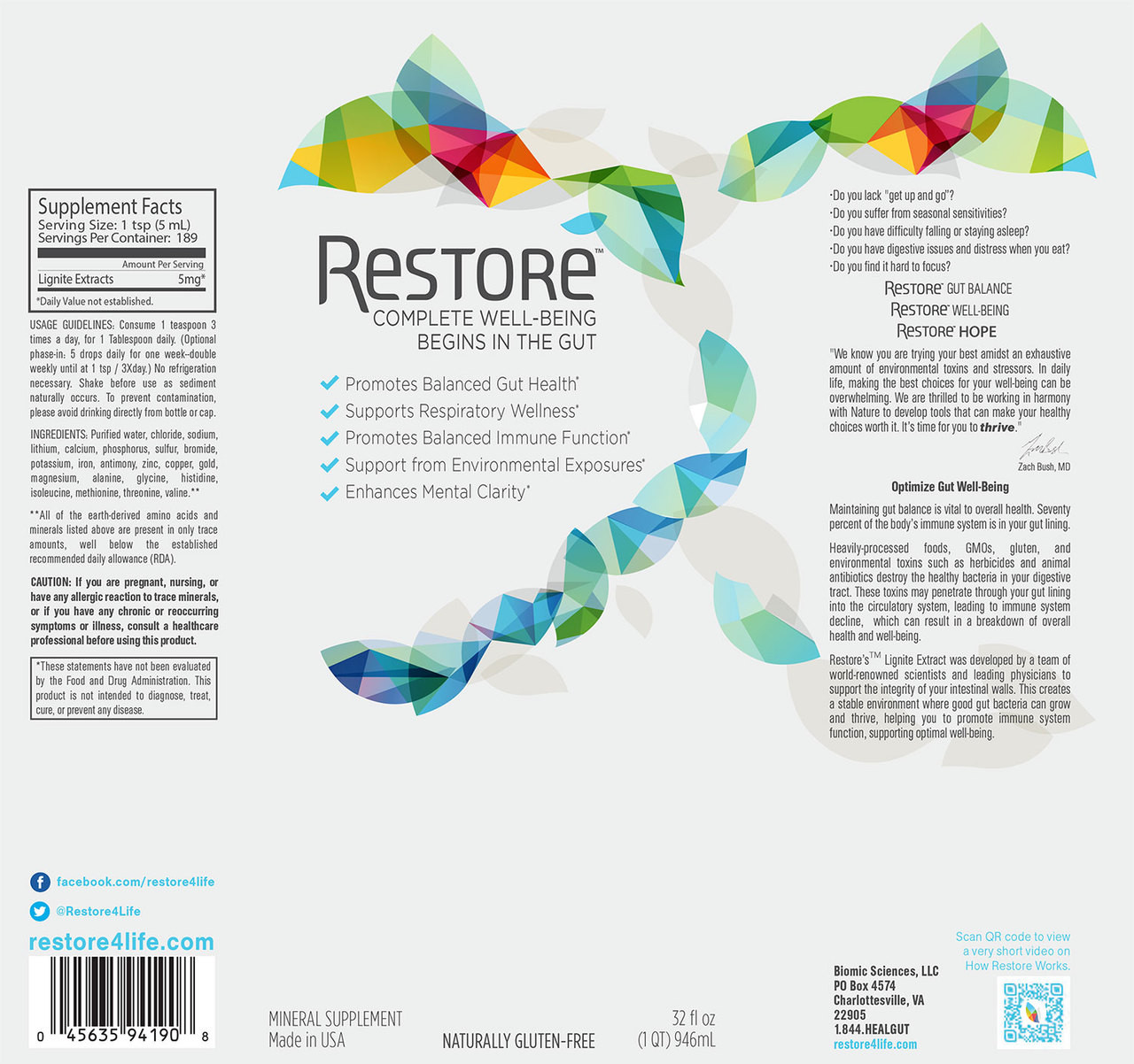 View of the full label for Restore for gut health including ingredients and supplement facts.