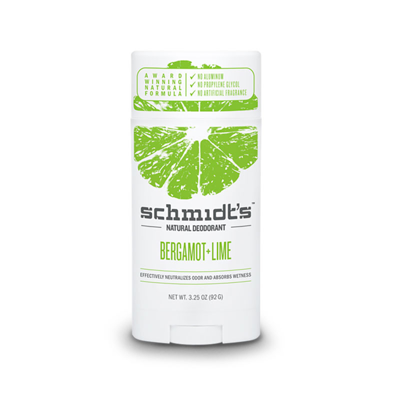 Front view of Schmidt's Bergamot + Lime Natural Deodorant containing no aluminum, propylene glycol or artificial fragrance.