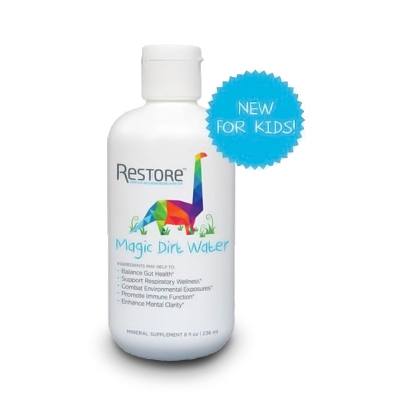 Front view of Restore Magic Dirt Water to balance gut health, by Biomic Sciences.