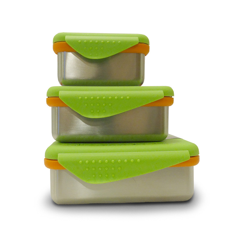 Image of all three sizes of New Wave Enviro's Kid Basix Safe Snackers BPA free stainless steel lunch containers.