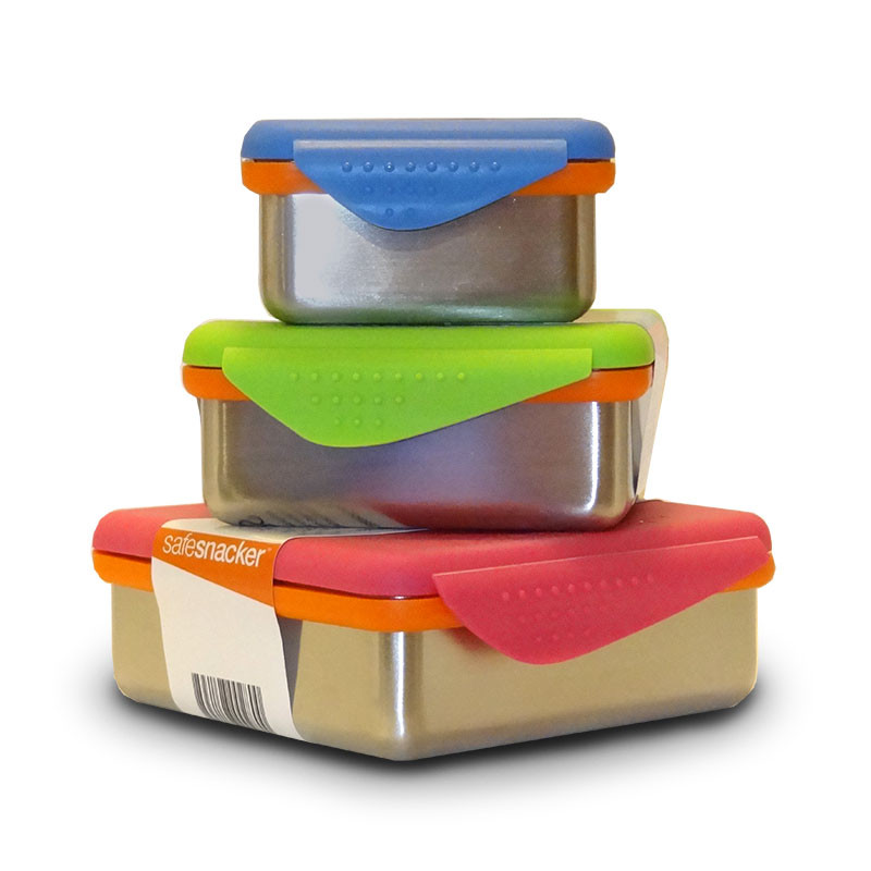 Image of all three colors and sizes of New Wave Enviro's Kid Basix Safe Snackers Stainless Steel BPA free lunch containers.