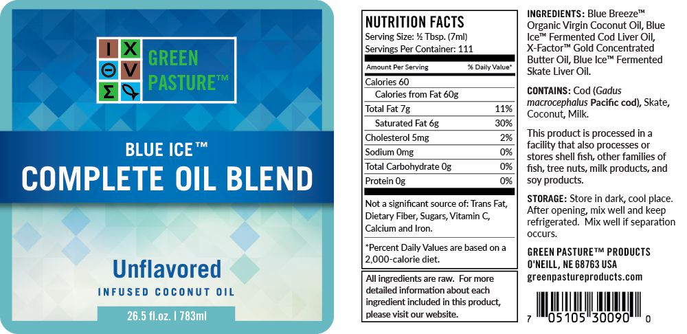 View of the label including ingredients and dosage for Green Pasture Blue Ice Complete Oil, unflavored.