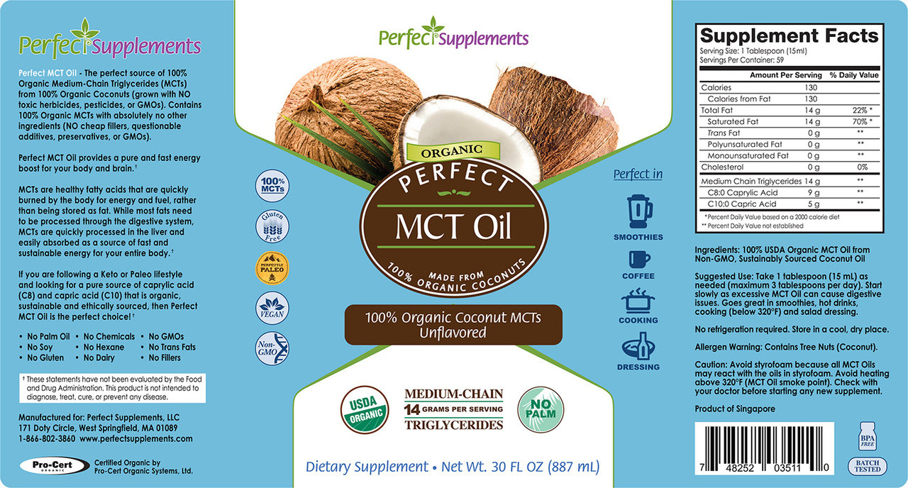 Complete label, including directions and supplement facts for Perfect MCT Oil.