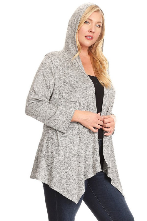 Sweater Cardigan Hoodie: Heather Grey (Plus)