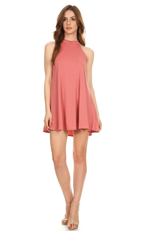 Halter Swing Dress: Coral