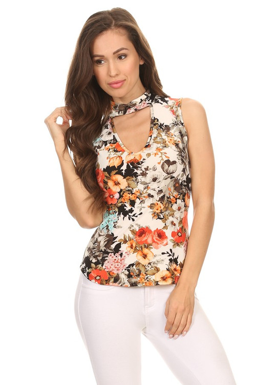 Printed Choker Blouse: Ivory Coral Floral
