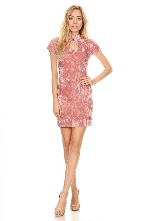 Double Keyhole Mini Dress: Rose