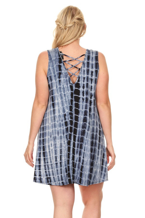 Cage Back Sleeveless Dress: Navy Tie Die (Plus)