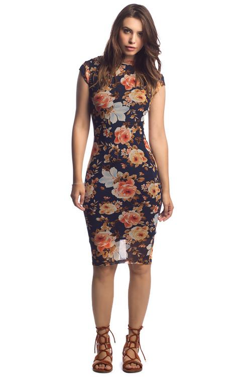 Mesh Midi Dress: Navy Mustard Floral