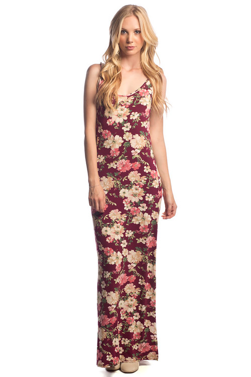 Side Slit Maxi Dress: Burgundy Floral