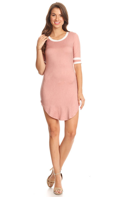 Brushed Double Ringer Dress: Mauve