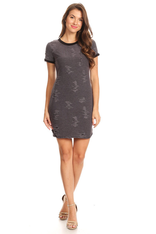 Distressed Ringer Dress: Charcoal