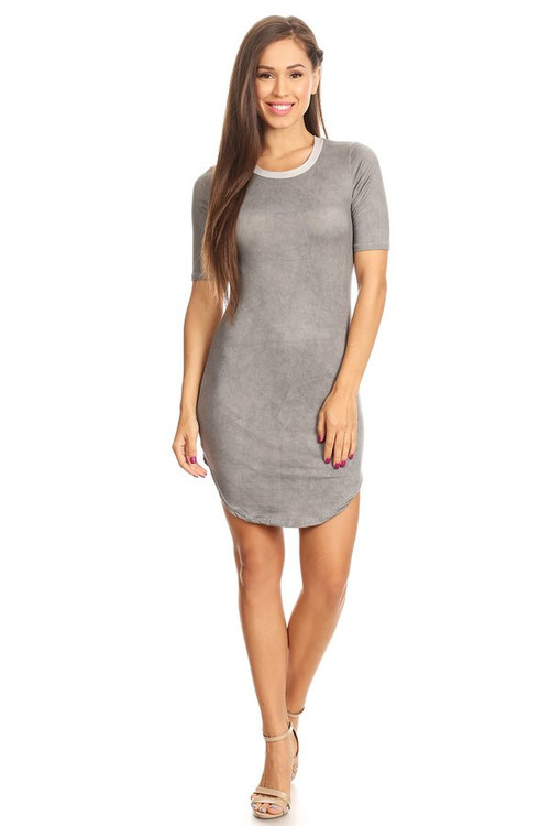 Distressed Brushed Ringer Dress: Grey