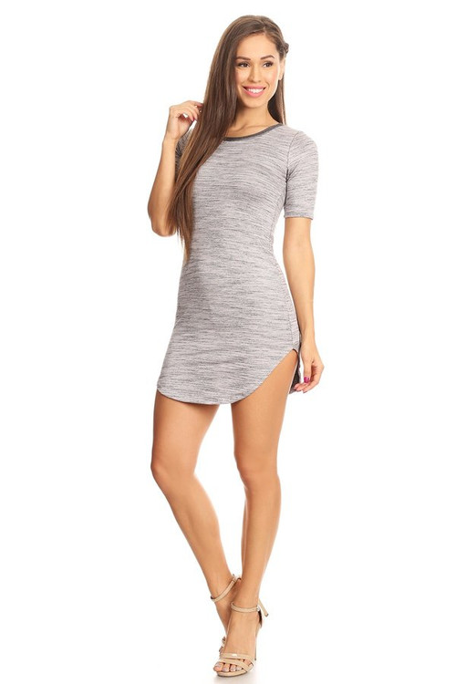 French Terry Ringer Dress: Charcoal