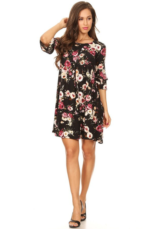 Double Bell Swing Dress: Black Floral