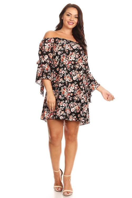 Crepe Off Shoulder Mini Dress: Black Mauve Floral (Plus)