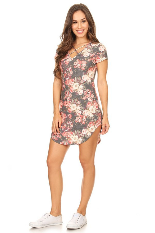 X Front Tee Dress: Black Floral