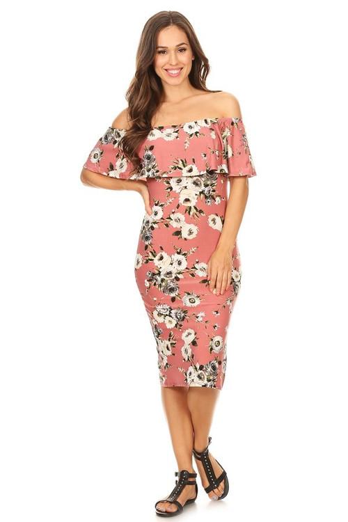 Off Shoulder Maxi Dress: Mauve Floral