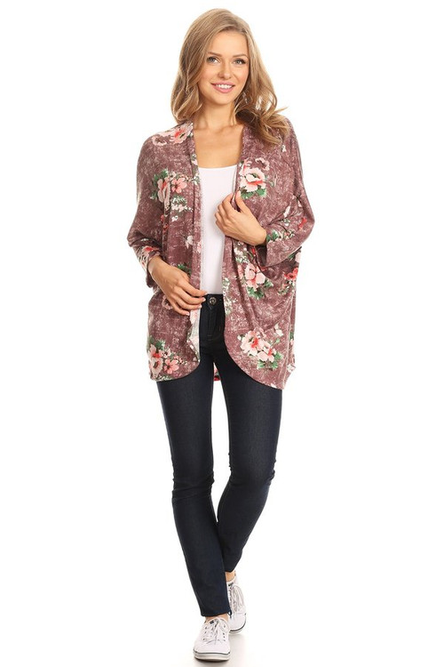 Sweater Knit Duster: Mauve Floral
