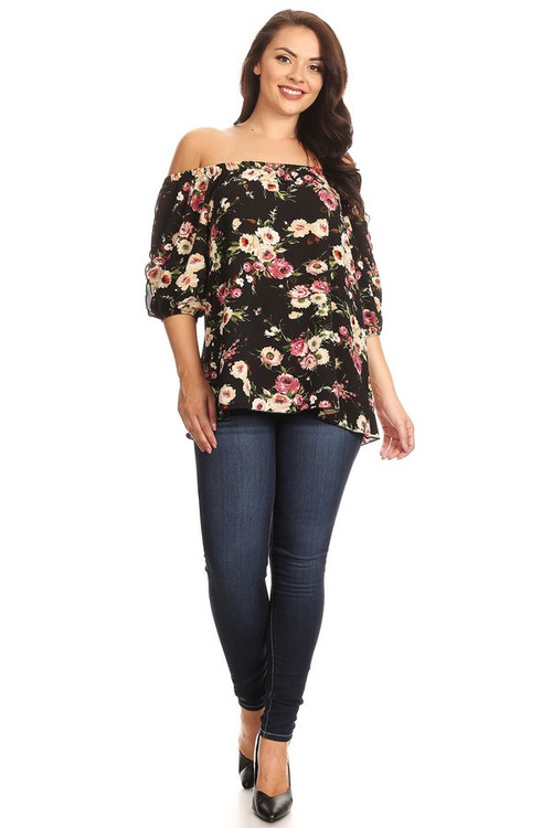 Off Shoulder Split Sleeve Top: Black Floral (Plus)