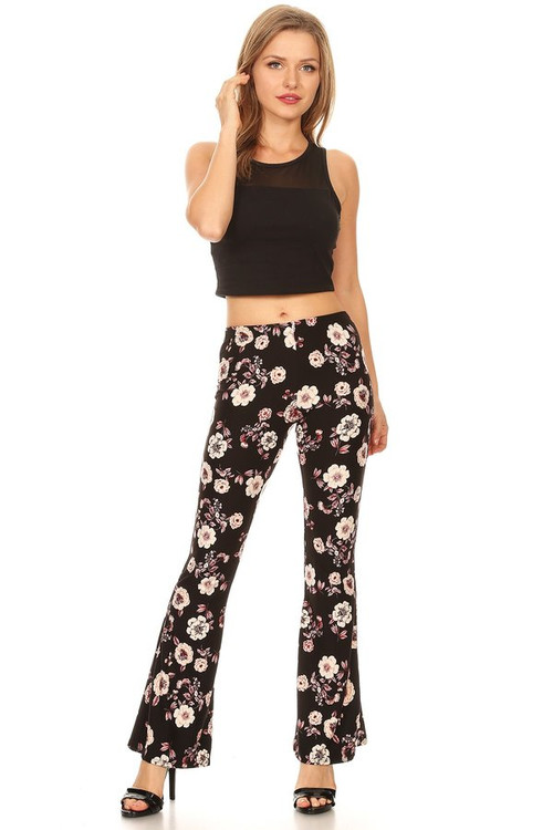 The VIBE Bell Bottom Pant: Black Floral
