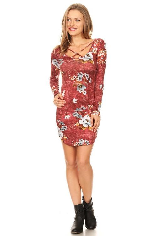 Sweater Knit X Dress: Wine Floral