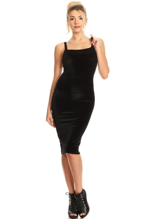 Velvet Sleeveless Dress: Black