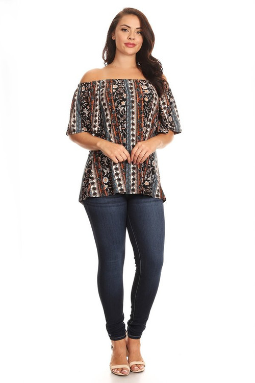 Brushed Off Shoulder Top: Rust Aztec (Plus)