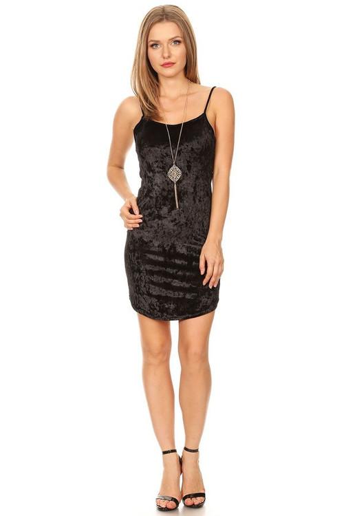 Velvet Tight Tank Dress w/Necklace: Black