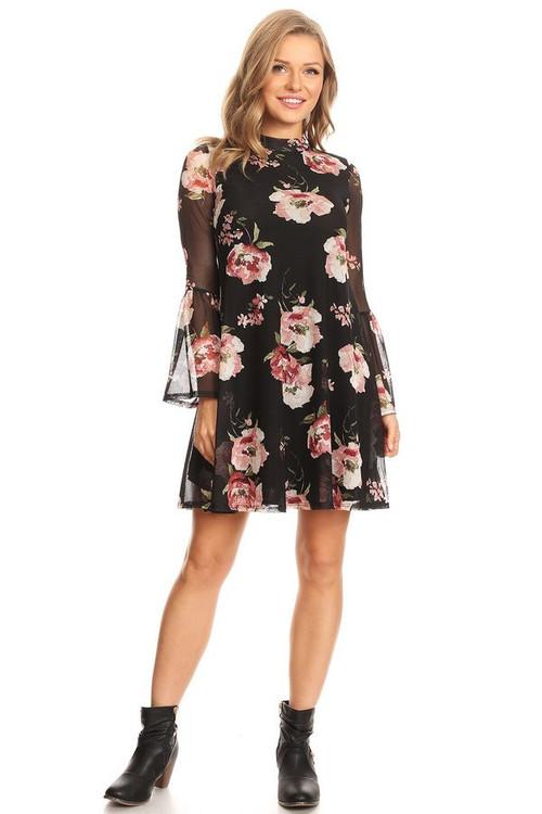Mesh Bell Sleeve Dress: Marsala Floral
