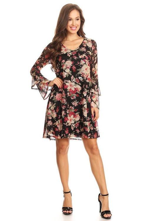 Mesh Lined Bell Sleeve Dress: Berry Floral