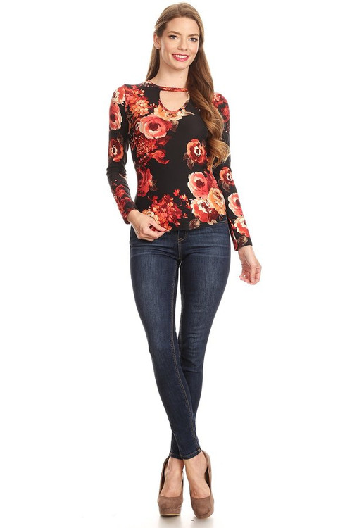 Brushed Long Sleeve Top: Black Floral