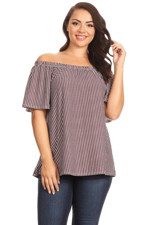 Brushed Off Shoulder Top: Mauve Ivory Stripes (Plus)
