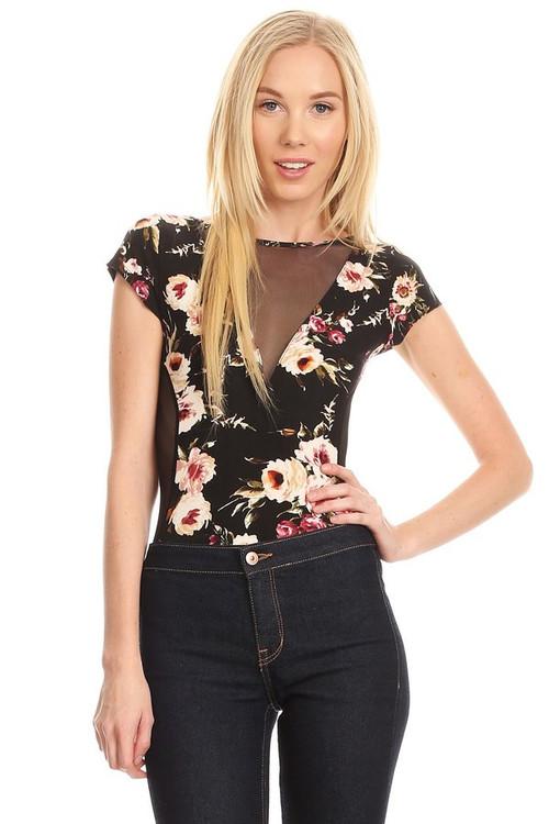 Mesh Insert Bodysuit: Black Floral