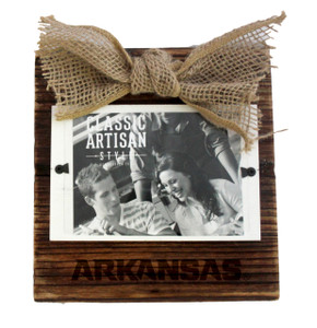 Arkansas Wood Frame with Burlap Bow
