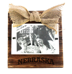 Nebraska Wood Frame with Burlap Bow
