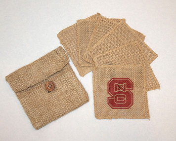 North Carolina State Burlap Coasters