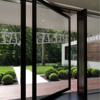 EtchedFX glass film style: Bamboo Breeze - etched film applied to sliding glass doors