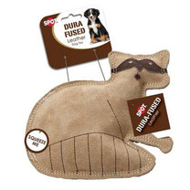 Ethical Pet Dura-Fused 7.25-Inch Leather Dog Toy, Small, Raccoon