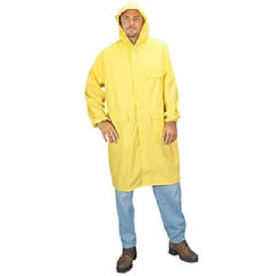 """2-piece 2-ply PVC/polyester construction Thickness: .35mm Length: 48"""" Storm fly front snaps Color: Yellow Size: XLARGE"""