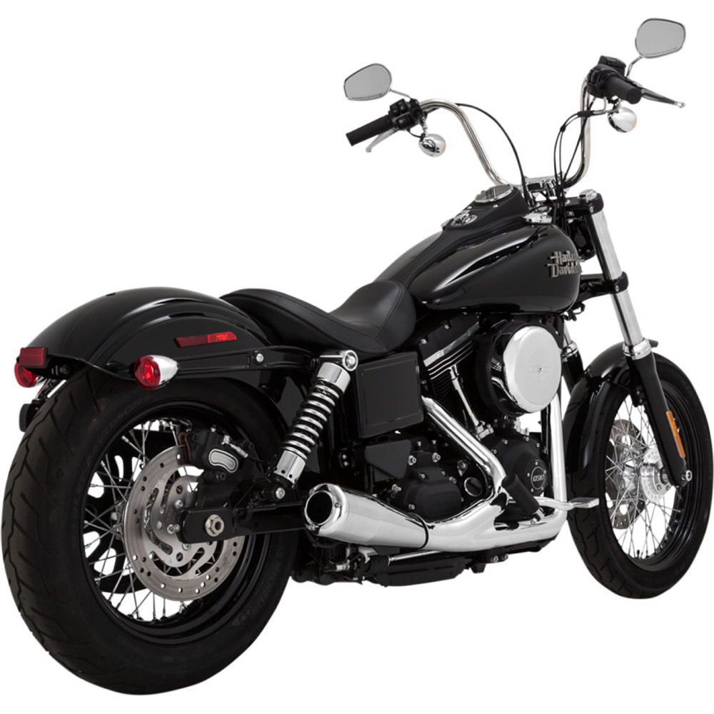 Vance & Hines Upsweep 2-Into-1 Exhaust System for 2006-2017 Harley Dyna - Chrome