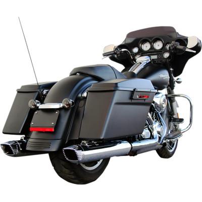 "FireBrand Chrome 4"" Baritone Slip-On Exhaust Mufflers for 1995-2016 Harley Touring"