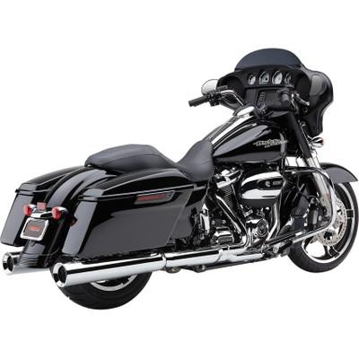 """Cobra Powr-Flo 4-1/2"""" Slip-On Exhaust Mufflers for 2017 Harley Touring - Chrome"""