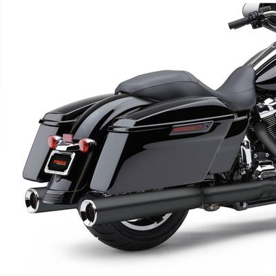 """Cobra Powr-Flo 4-1/2"""" Slip-On Exhaust Mufflers for 2017 Harley Touring - Raven Black"""