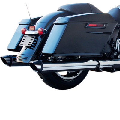 """Firebrand Baritone 4"""" Slip-On Exhaust Mufflers for 2017 Harley Touring - Chrome w/ Contrast End Caps"""