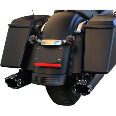 """Firebrand Baritone 4"""" Slip-On Exhaust Mufflers for 2017 Harley Touring - Black w/ Contrast End Caps"""