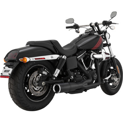 Vance & Hines Hi-Output 2-Into-1 Short Exhaust for 2006-2017 Harley Dyna - Black